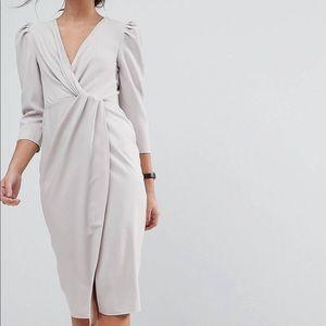 ASOS Ivory wrap front midi dress
